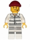 Minifig No: cty0988  Name: Sky Police - Jail Prisoner 86753 Prison Stripes, Scowl with Open Mouth and Headset, Dark Red Knit Cap