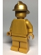 Minifig No: cty0989  Name: Statue - Pearl Gold with Metallic Gold Fire Helmet