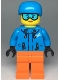 Minifig No: cty0991  Name: Skier Female, Dark Azure Jacket and Helmet, Goggles with Peach Lips