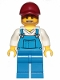 Minifig No: cty1006  Name: Overalls Blue over V-Neck Shirt, Blue Legs, Dark Red Cap, Dark Tan Angular Beard