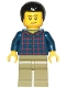 Minifig No: cty1017  Name: Dad - Dark Blue Plaid Button Shirt, Olive Green Legs, Black Hair Male with Coiled Texture