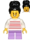 Minifig No: cty1019  Name: Girl, White with Red Stripes Sweater, Medium Lavender Short Legs