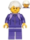 Minifig No: cty1024  Name: Grandmother - Dark Purple Tracksuit, White Hair, Glasses