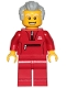 Minifig No: cty1025  Name: Grandfather - Red Tracksuit, Light Bluish Gray Hair