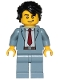 Minifig No: cty1032  Name: Reporter - Sand Blue Suit, Dark Red Tie, Black Hair Swept Back Tousled