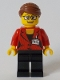Minifig No: cty1045  Name: Reporter - Black Legs, Reddish Brown Hair Swept Back into Bun