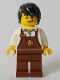Minifig No: cty1048  Name: Barista - Male, Reddish Brown Apron with Cup and Name Tag, Black Hair