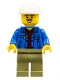 Minifig No: cty1050  Name: Truck Driver - Blue Jacket over Dark Red V-Neck Sweater, Olive Green Legs, White Construction Helmet