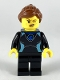 Minifig No: cty1051  Name: Surfer - Female, Black Wetsuit with Medium Azure Trim, Reddish Brown Hair