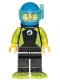 Minifig No: cty1062  Name: Diver - Male, Black Wetsuit with White Logo and Lime Trim and Flippers, Blue Helmet and Airtanks
