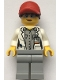 Minifig No: cty1069  Name: Scientist - Female, Red Cap with Ponytail Hair, Blue Goggles and Light Bluish Gray Legs