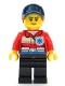 Minifig No: cty1083  Name: Ski Patrol Member - Female, Red Jacket, Dark Blue Cap, Ponytail