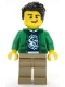 Minifig No: cty1086  Name: Ski Shop Clerk - Male, Green Jacket over Raccoon Shirt, Black Hair