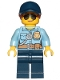 Minifig No: cty1090  Name: Police - City Officer Female, Bright Light Blue Shirt with Badge and Radio, Dark Blue Legs, Dark Blue Cap with Dark Orange Ponytail, Sunglasses