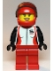 Minifig No: cty1109  Name: Race Car Driver, Female, Red and White Race Jacket, Red Helmet and Legs