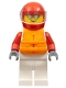 Minifig No: cty1112  Name: Male, White and Red Jumpsuit with 'XTREME' Logo, Red Helmet, Orange Life Jacket, Sunglasses