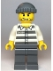 Minifig No: cty1122  Name: Police - Jail Prisoner 50380 Prison Stripes, Stubble, Dark Bluish Gray Knit Cap