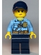 Minifig No: cty1125  Name: Police - City Officer Female, Bright Light Blue Shirt with Badge and Radio, Dark Blue Legs, Dark Blue Cap with Dark Orange Ponytail, Freckles