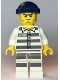 Minifig No: cty1127  Name: Police - Jail Prisoner 50380 Prison Stripes, Stubble, Dark Blue Knit Cap