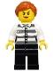 Minifig No: cty1129  Name: Police - Jail Prisoner 50382 Prison Stripes, Female, Black Legs, Scowl with Peach Lips, Orange Ponytail