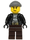 Minifig No: cty1133  Name: Police - City Bandit Crook, Black Leather Jacket, Dark Bluish Gray Knit Cap, Dark Brown Legs
