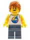 Minifig No: cty1149  Name: Surfer - Male, White Tank Top with Dark Azure Windsurf, Sand Blue Legs, Dark Orange Tousled Hair