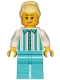Minifig No: cty1151  Name: Fairground Employee, Female - Bright Light Yellow Hair with High Bun, White Shirt with Stripes, Medium Azure Legs