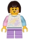 Minifig No: cty1153  Name: Child Girl - Shirt with Unicorn, Medium Lavender Short Legs, Dark Brown Hair Short, Bob Cut