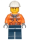 Minifig No: cty1154  Name: Construction Worker - Male, Chest Pocket Zippers, Belt over Dark Gray Hoodie, Dark Blue Legs, White Construction Helmet, Stubble