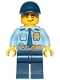 Minifig No: cty1155  Name: Police - City Officer Shirt with Dark Blue Tie and Gold Badge, Dark Tan Belt with Radio, Dark Blue Legs, Dark Blue Cap, Lopsided Grin