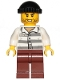 Minifig No: cty1156  Name: Police - Jail Prisoner 86753 Prison Stripes, Black Knit Cap, Reddish Brown Legs, Beard Stubble and Lopsided Grin