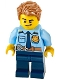 Minifig No: cty1158  Name: Police - City Officer Shirt with Dark Blue Tie and Gold Badge, Dark Tan Belt with Radio, Dark Blue Legs, Medium Nougat Tousled Hair