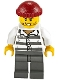 Minifig No: cty1159  Name: Police - Jail Prisoner 86753 Prison Stripes, Dark Red Knit Cap, Scar, and Stubble