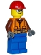 Minifig No: cty1162  Name: Construction Worker - Orange Zipper, Safety Stripes and Belt over Brown Shirt, Blue Legs, Red Construction Helmet, Glasses