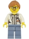 Minifig No: cty1167  Name: Ocean Researcher - Female, White Jacket, Sand Blue Legs, Glasses, Medium Nougat Hair