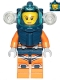 Minifig No: cty1169  Name: Deep Sea Diver - Female, Dark Blue Helmet, Side Lamps, Smirk / Left Eye Squinted