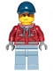 Minifig No: cty1172  Name: Explorer - Male, Dark Red Hooded Sweatshirt, Dark Blue Cap, Frown, Sweat Drops