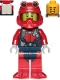 Minifig No: cty1173  Name: Scuba Diver - Male, Open Mouth Smile, Red Helmet, White Airtanks, Red Flippers