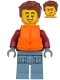Minifig No: cty1174  Name: Harl Hubbs - Dark Red Hooded Sweatshirt, Sand Blue Legs with Pockets, Life Jacket