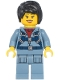 Minifig No: cty1181  Name: Ocean Mini-Submarine Pilot - Female, Harness, Sand Blue Legs with Pockets, Black Hair