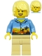 Minifig No: cty1184  Name: Plane Passenger - Male, Bright Light Yellow Hair, Medium Blue Hawaiian Shirt, Tan Legs