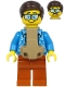 Minifig No: cty1185  Name: Plane Passenger - Male, Dark Brown Hair, Dark Azure Hawaiian Shirt, Dark Orange Legs, Baby Carrier