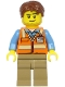 Minifig No: cty1187  Name: Air Traffic Controller - Male, Reddish Brown Hair, Orange Safety Vest, Dark Tan Legs