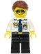 Minifig No: cty1189  Name: Pilot - Female, Reddish Brown Hair, White Shirt with Dark Blue Tie, Black Legs