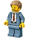 Minifig No: cty1192  Name: Plane Passenger - Male, Sand Blue Suit, Dark Red Tie, Dark Tan Hair Short Combed Sideways, Beard