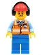 Minifig No: cty1193  Name: Ground Crew - Male, Orange Safety Vest with Reflective Stripes, Blue Legs, Red Construction Helmet with Headset