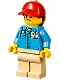 Minifig No: cty1194  Name: Ground Crew - Female, Medium Blue Shirt with 'Octan' Logo, Tan Legs, Red Ball Cap with Reddish Brown Ponytail
