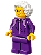 Minifig No: cty1195  Name: Plane Passenger - Grandmother, Dark Purple Tracksuit, White Wavy Hair, Glasses