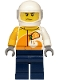 Minifig No: cty1198  Name: Helicopter Pilot - Jacket with 'ViTA RUSH' Logo, Dark Blue Legs, White Helmet