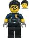 Minifig No: cty1210  Name: Police Officer - Duke DeTain, Dark Blue Shirt with Short Sleeves, Harness, Black Legs, Black Hair